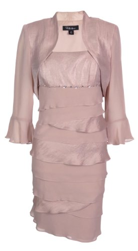 S L Fashions Women's Shimmer & Chiffon Bolero Jacket Dress (12 Petite, Pink)