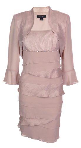 S L Fashions Women's Shimmer & Chiffon Bolero Jacket Dress (12 Petite, Pink)