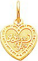 I Love You Heart Charm 10K Yellow Gold