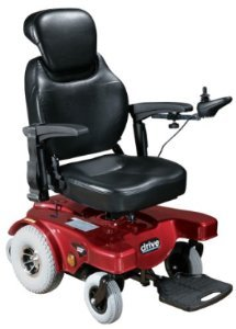 "Drive Medical Sunfire General Rear Wheel Drive Powered Wheelchair With Captains Seat And Various Seating Sizes, Red, 19.5"" X 18.5"""