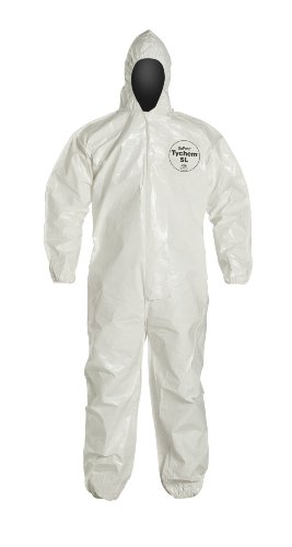 DuPont Tychem 4000 SL127T  Chemical Resistant Coverall with Standard Fit Hood and Taped Seams, Disposable, Elastic Cuff and Ankles, Large, White (Pack of 6)