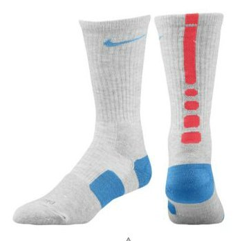 Nike Elite Basketball Socks Grey Heather/Fusion Red/Distance Blue 8-12 Large чулок д щитков nike guard lock elite sleeve su12 se0173 011 m чёрный
