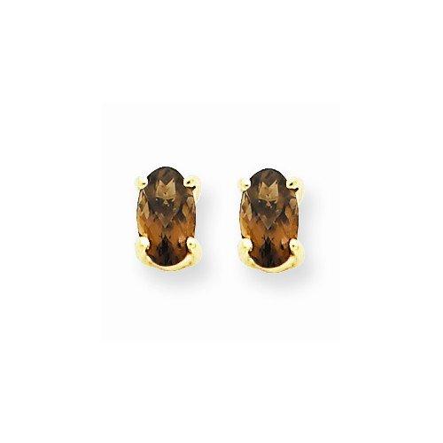 Smoky Quartz Earrings - Yellow Gold - 14K - Friction Back - 5 X 3Mm - 0.4Gr