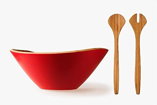 schöne Salat Set große Salatschüssel + Salatbesteck, Salad Bowl + Salad Spoons, aus Bambus, 34.5 cm x 32.5 cm x 13.5 cm 1240g, 29.5 cm x 6.5 cm x 0.8 cm 60g