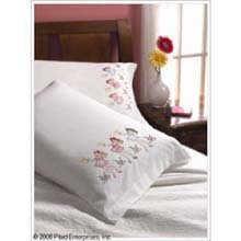 Bucilla 45371 Nightie Night Pillowcase Pair Stamped Embroidery Kit, 30-Inch By 20-Inch