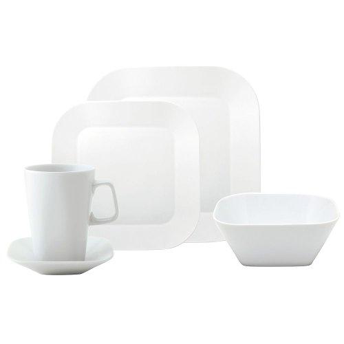 CUMULUS white Set 20 pcs. (4x platter 10.63 x 10.63 inches; 8.66 x 8.66 inches; bowl 5.91 x 5.91 inches; cup 11.84 fl.oz; saucer 4.72 x 4.72 inches)