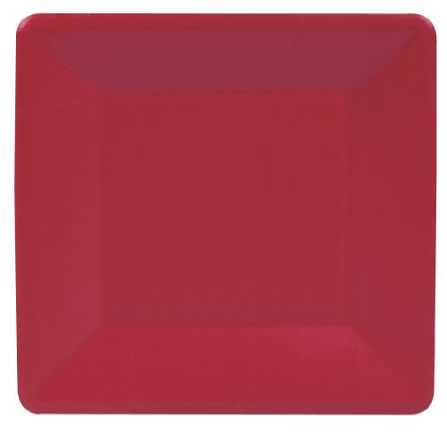 Entertaining With Caspari Grosgrain Paper Salad/Dessert Plates, Red, Pack Of 8