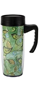 CR Gibson 18-Ounce Commuter Mug, Nest Chirp Bloom by C.R. Gibson