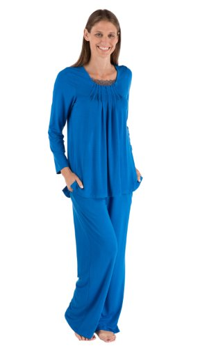 Womens Pajama Sets Eco Clothing Warm As Flannel Pjs Wb0003-Sky-Xl front-899551