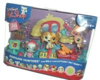 Littlest Pet Shop Figures Themed Playset Bargain Hunters (Pet Shopping) with Grey Cat, Dog & Pink Hummingbird