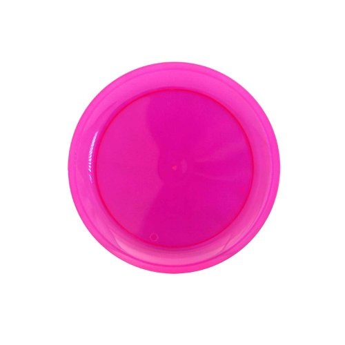 Party Essentials Hard Plastic 6-Inch Round Party/Dessert Plates, Neon Pink, 20-Count