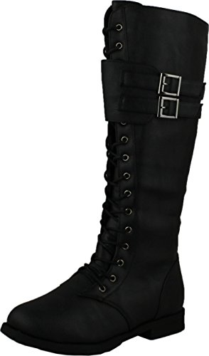 West Blvd Womens Manila Military Lace Up Combat Boots