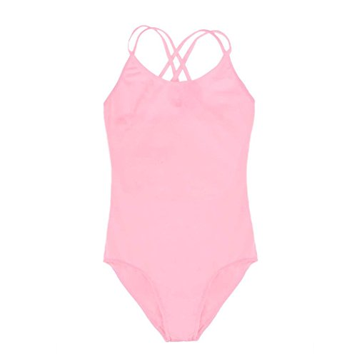 Kids Girl's Double Strap Slim Solid Camisole Leotard Pink