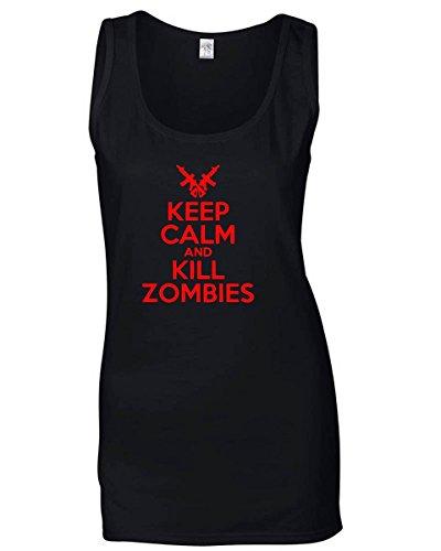 T-Shirtshock - Canottiera Donna TZOM0043 keep calm and kill zombies white, Taglia L
