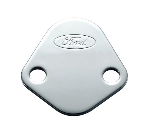Proform 302-290 Chrome Fuel Pump Block-Off Plate with Embossed Ford Logo for Ford 289-351 Windsor/352-428 FE Series/429/460 (Mechanical Fuel Pump Ford 302 compare prices)