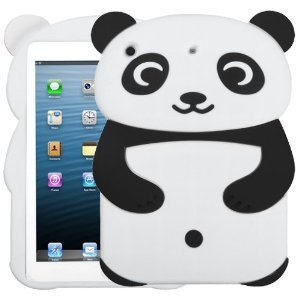 Fits Apple iPad Mini Soft Skin Case White Panda with Black Hands