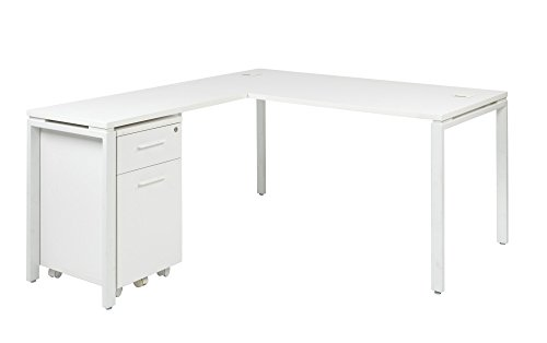 Home Living Room Office Buy Corner Prado Complete L-Workstation Computer Desk Table Furniture - White