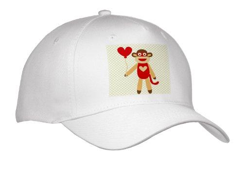 PS Fun Art - Sock Monkey With Heart Balloon - Adorable Animal Art - Caps