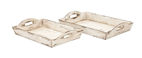 Benzara 39464 Wood Tray, Set of 2