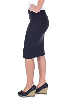 Women's Casual Classic Wear Office Below Knee Stretchy Pencil Skirt