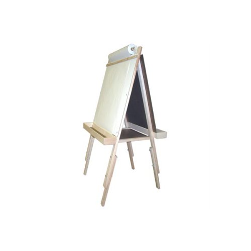 Adjustable Easel With Chalkboard and Magnet Board