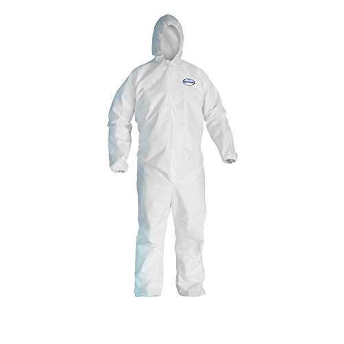 Kleenguard A20 Breathable Particle Protection Hooded Coveralls  (41169), REFLEX Design, Zip Front, Elastic Wrists & Ankles, White, XL, Convenience Pack of 1 Pair