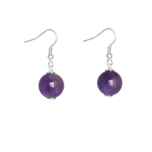 Miss Lola 'Blossom' Brass with a Silver Tone Simple Drop Earring with a Smooth Amethyst Bead