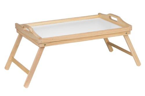 Bett-Tablett mit Faltbeinen aus Kiefernholz 21x50x31cm weiße Oberfläche