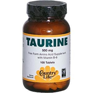 Country Life taurine, 500 mg, avec B-6, 100-Count