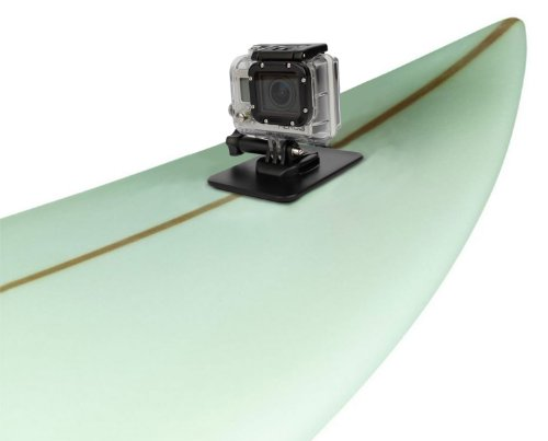 Duragadget Surfboard And Flat Surface (Car, Boats, Snowboard Etc) Mount For Gopro 4 (Black & Sliver), Hero, 3+ (Plus), 3, 2, 1 & Go Pro Hd Hero, Naked/Helmet / Lcd Bacpak (Black, White, Silver, Surf, Outdoor & Sport Editions)