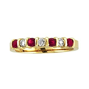14k Gold 1.02ct tw Round Diamonds and Rubys Bar Set Band Wedding or Anniversary Ring - 8