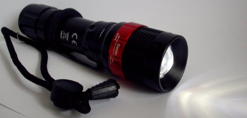 Bright 7w 300 lumen LED Flash light torch lamp including 3 AAA batteries - customer reviews say it is AMAZING as it really is very bright, small and compact.