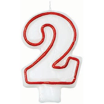 """Amscan Numerical Celebration Candle, Number Two #2, White/Red, 3"""" - 1"""