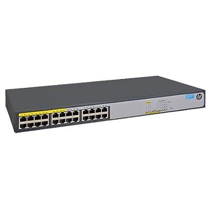 HP 1420-24G-PoE+ (124W) Switch - Switch - nicht verwaltet - 12 x 10/100/1000 (PoE+) + 12 x 10/100/1000 - Desktop, an Rack montierbar - PoE+