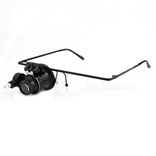 Glasses Type White Led Light 20X Magnifying Glass Magnifier Black