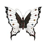 Large Butterfly Metal Wall Art with Coloured Dotted Wings