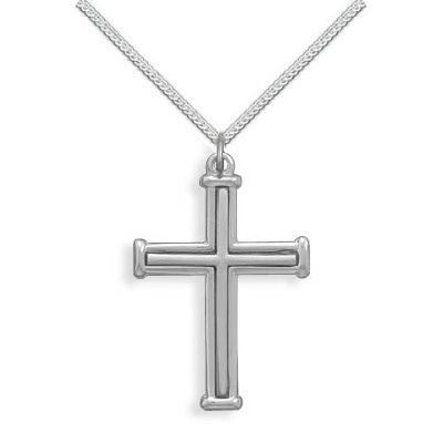 Cross Necklace Polished and Satin Finish Sterling Silver - Made in the USA, 20-inch