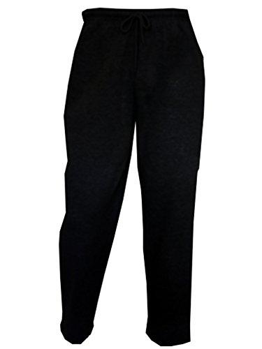 ladies-womens-plain-fleece-jogging-bottoms-trousers-joggers-open-loose-hem-s-10-12-black