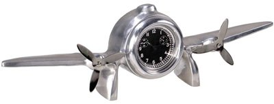 Art Deco Flight Clock Authentic Reproduction - Desktop Airplane Model - Made Of Polished Hand Cast Airplane Aluminum - Authentic Models Ap104