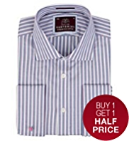 Sartorial Pure Cotton Rope Striped Shirt