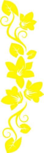 WANDTATTOO f269 wunderschöne Ranke mit hübschen Blumen 240×69 cm – gelb