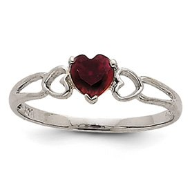 Genuine IceCarats Designer Jewelry Gift 14K White Gold Garnet Birthstone Ring Size 6.00