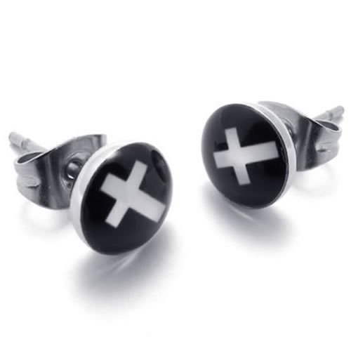 Konov Jewellery Two Tone Trendy Stainless Steel Unisex Men's Cross Stud Earrings, 2pcs, Color Silver Black (with Gift Bag)