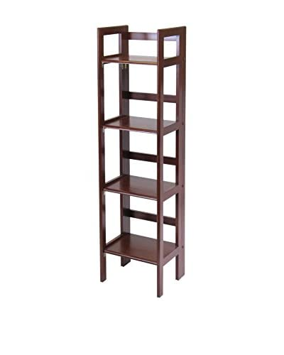 Luxury Home 4-Tier Contemporary Narrow Folding Shelf, Antique Walnut