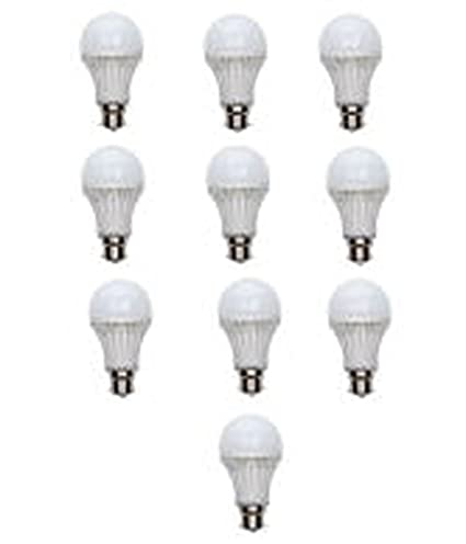 5W Plastic LED Bulb (Cool Day Light, Pack Of 10)