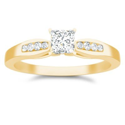 0.60 Carat Cheap Engagement Ring for Women with Princess cut Diamond on 18K Yellow gold
