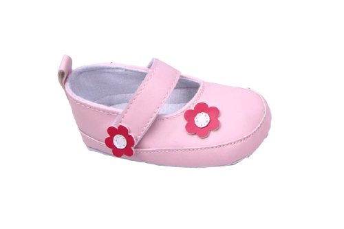 Jtc Baby Girl Pu Flower Crib Shoes Soft Non-Skid Sole Velcro Closure (11Cm/0-6 Months, Pink) front-38680