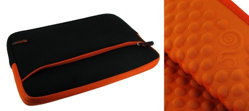 rooCASE Neoprene Wonderful Bubble Sleeve Case for Dell Inspiron iM1012-687OBK Mini 1012 10.1-Inch Netbook Obsidian Malignant (Black / Orange)