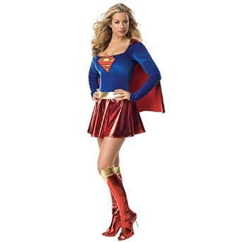 Ladies Sexy Supergirl Superwoman Costume Boot Covers & Pants - Medium or X-Large