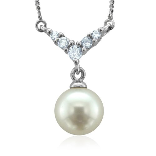 "14k White Gold Natural Diamond and Pearl Necklace - 18""- Certificate of Authenticity"